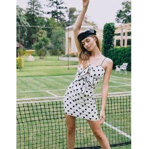 Bardot Aubrey Tie Dress in White Spot